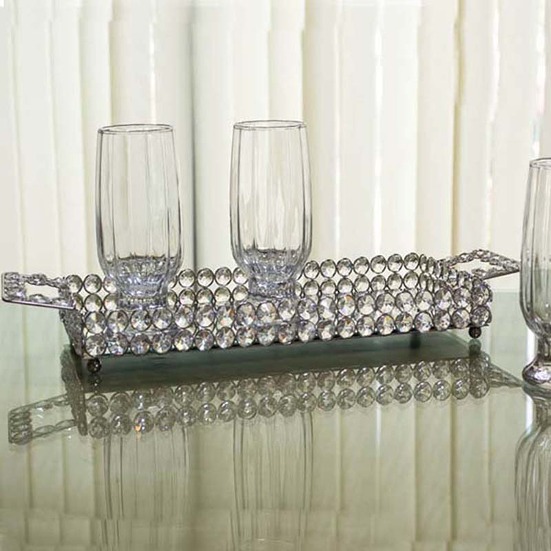 Rectangle Crystal Tray-Small Silver