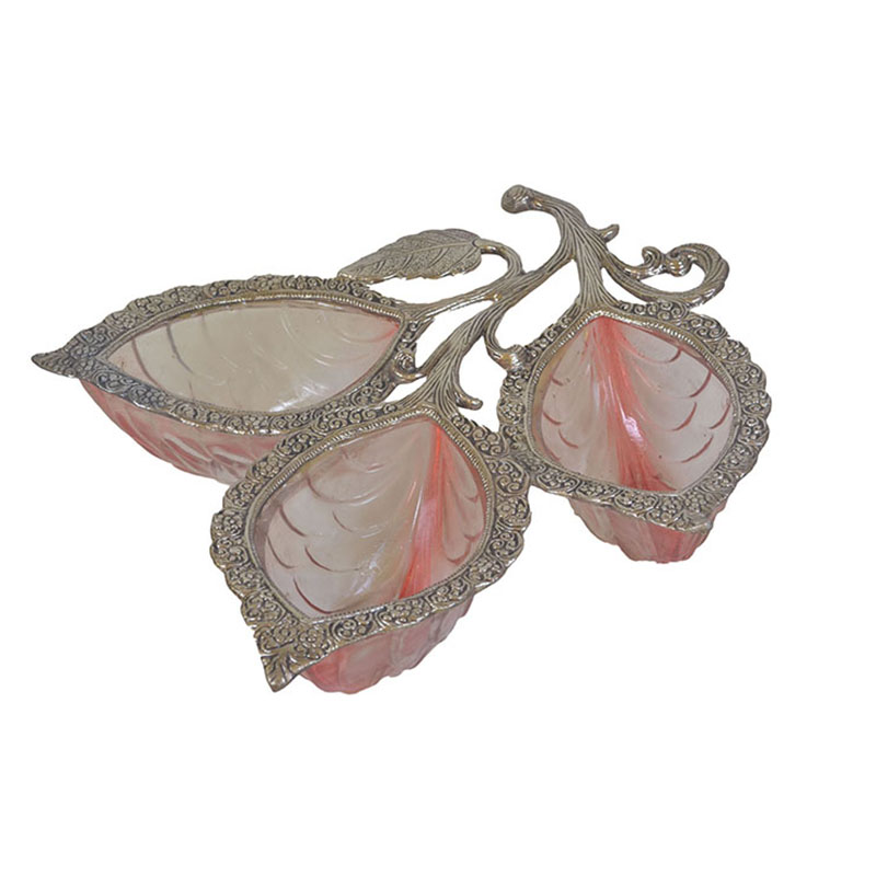 Red-White Metal Glass 3 Leaf Serving Tray
