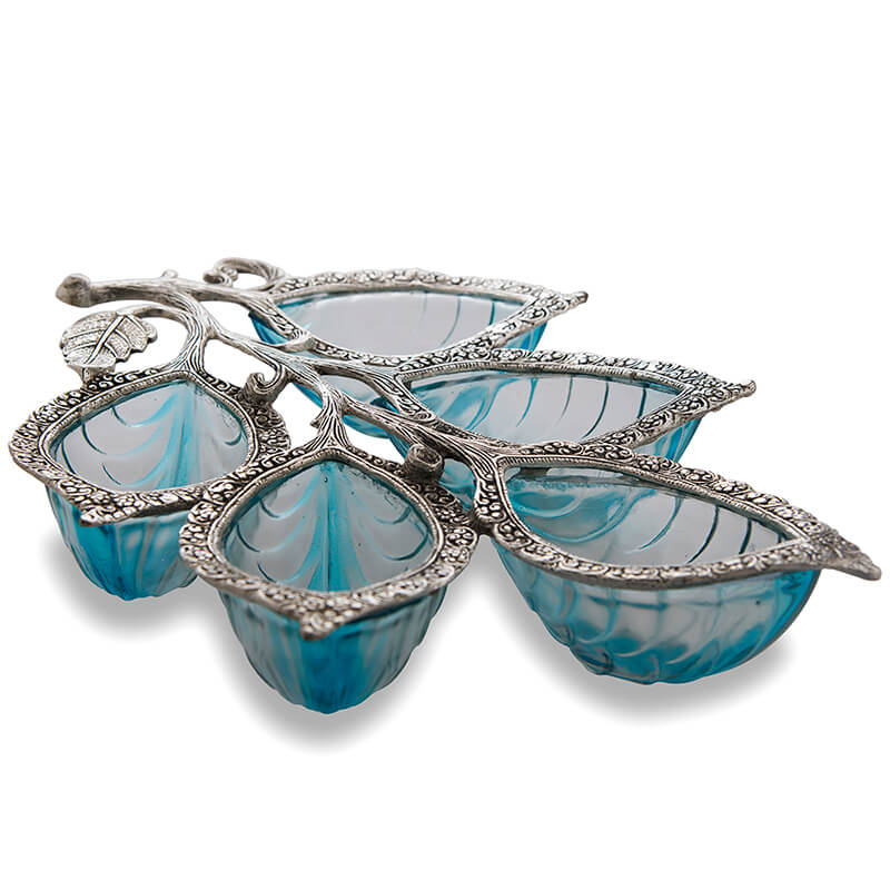 Blue-White Metal Glass 5 Leaf Serving Tray