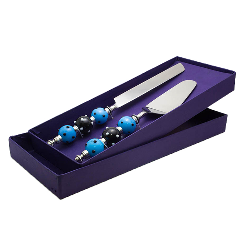 Cake Server with Blue-Black Glass-bead handle