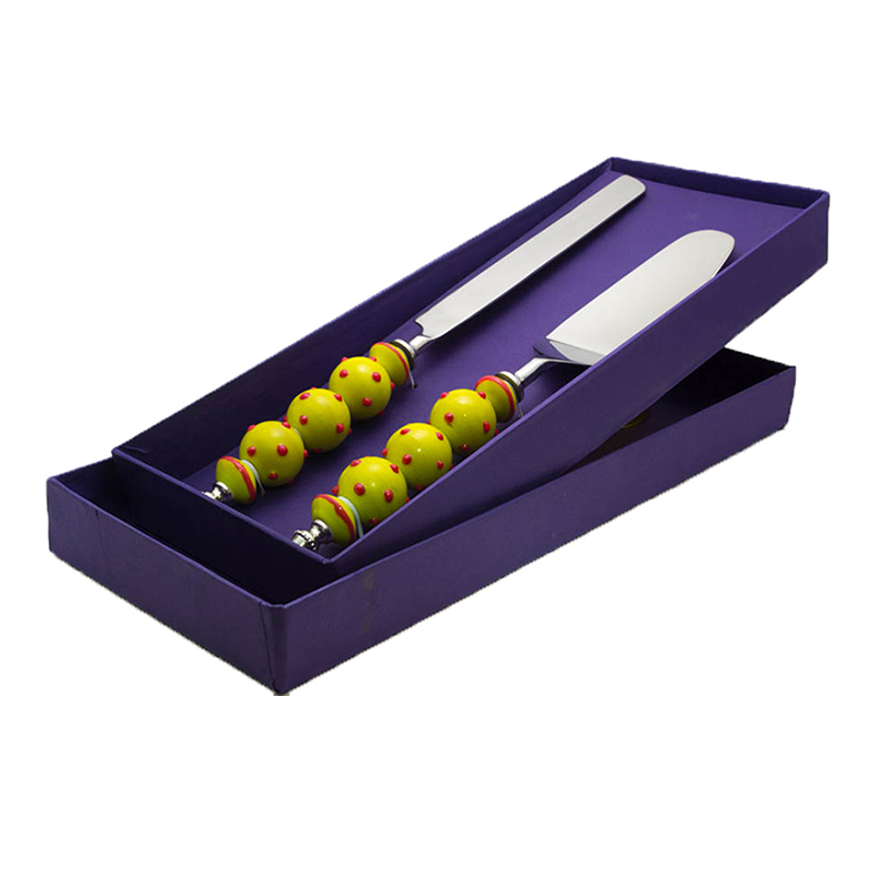 Cake Knife and Pie Server Set of 2, Stainless Steel with Yellow Glass-Bead Handle and Red Podka Dots