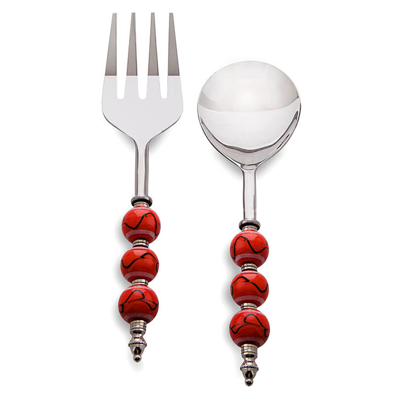 Noodle,Pasta Server and Serving Spoon Set of 2, Stainless Steel with Orioles Orange Beads and Black Climber