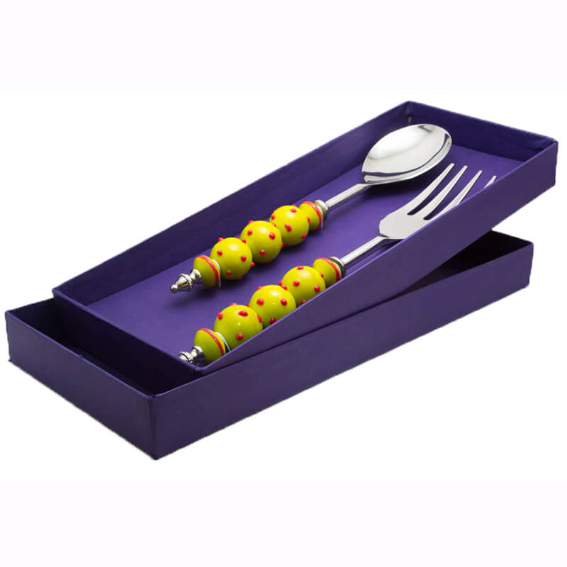 Noodle Server with Yellow Glass Beads- Red dots