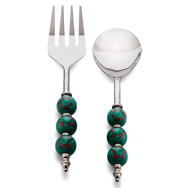 Noodle,Pasta Server and Serving Spoon Set of 2, Stainless Steel with Regal Green and Red Climber