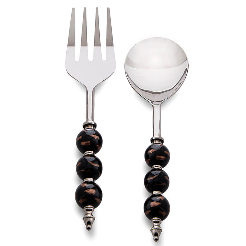 Noodle,Pasta Server and Serving Spoon Set of 2, Stainless Steel with Elegant Black-Golden Beads
