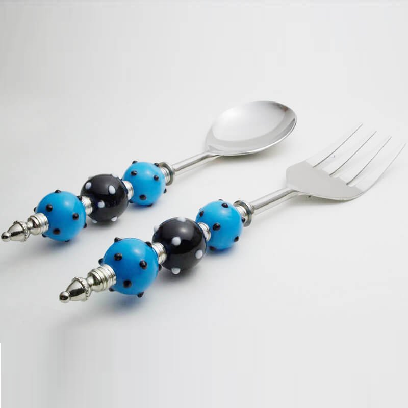 Noodle Server with Blue-Black Bead Handle