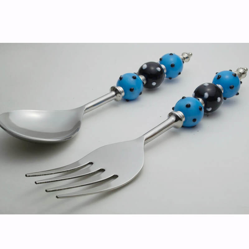 Noodle Server with Oval Silver-Glass Bead Handle
