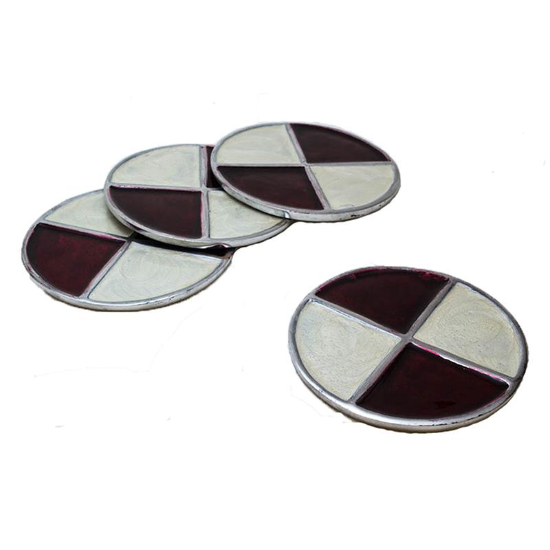 Brown-n-Cream Round Aluminium Coaster (Set of 4 pc)