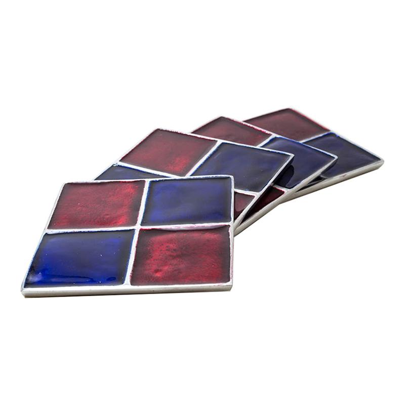 Scarlet- Azure Square Aluminium Coaster (Set of 4 pc)