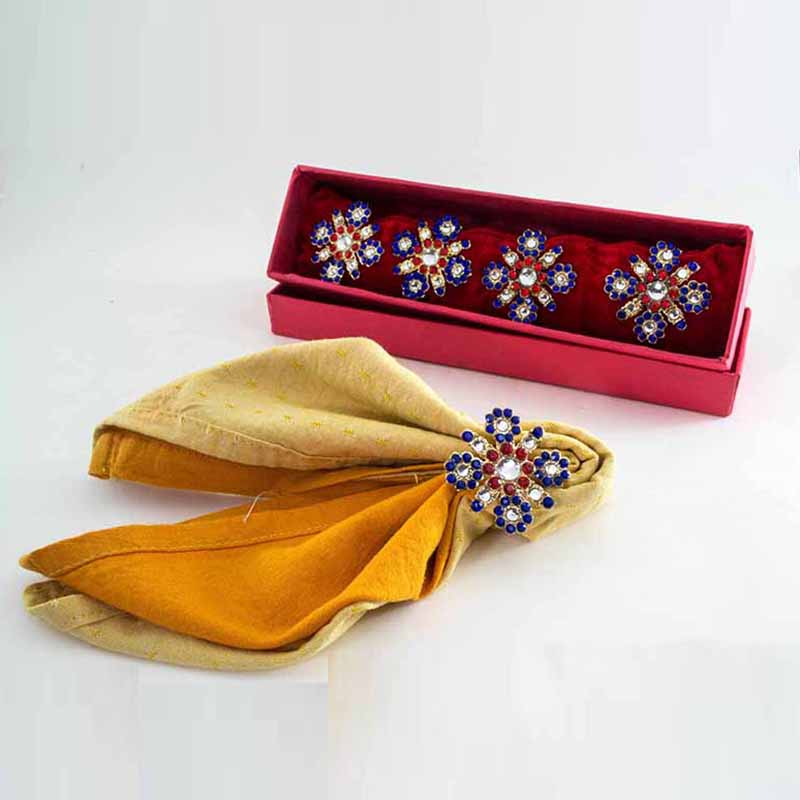 Scarlet-Azure Cross Diamond napkin Ring (Set of 4 pcs)