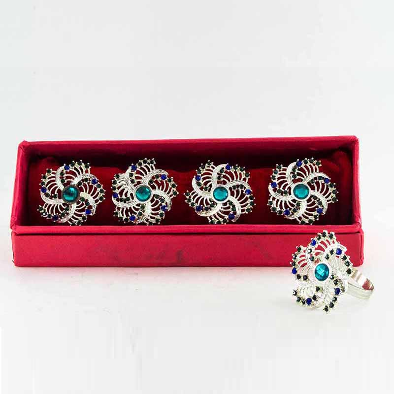 Blue-Eye Silver Spiral Napkin Ring (Set of 4)