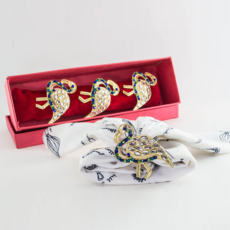 Golden Duck Napkin ring with Azure Blue Neck