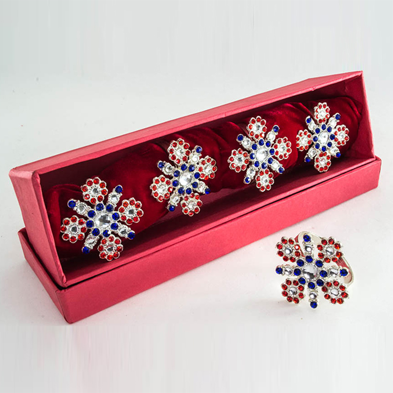 Scarlet-Azure Cross Diamond Silver Plated napkin Ring