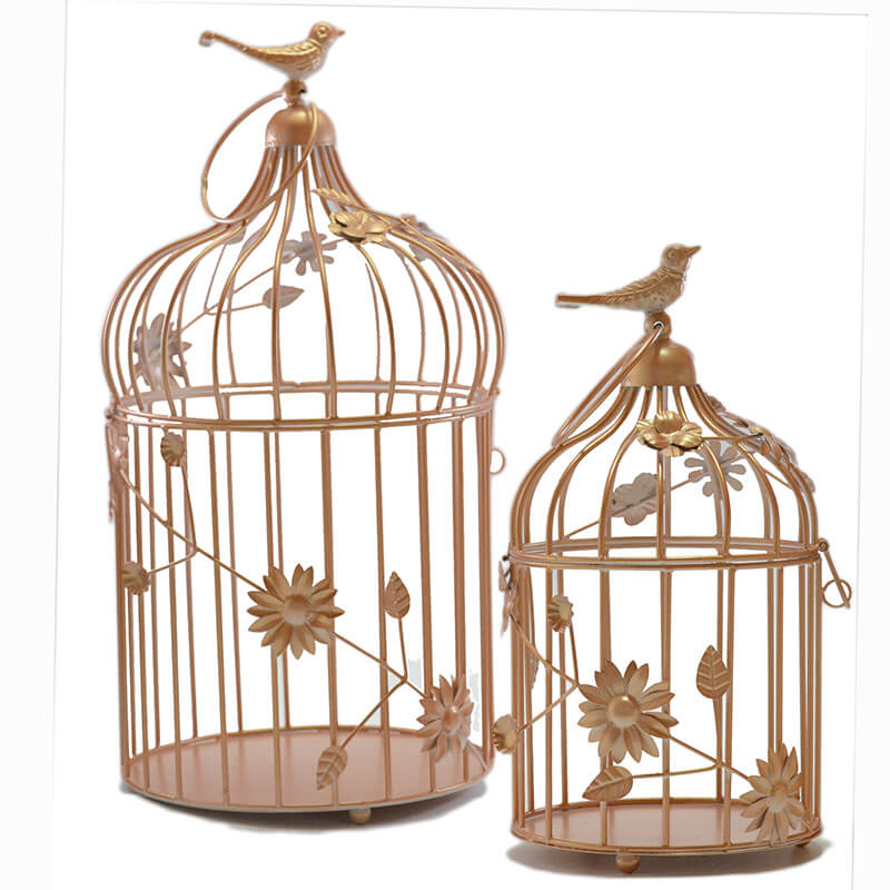 Copper Bird Cage With Floral Vine (Set Of 2), With Hanging Chain