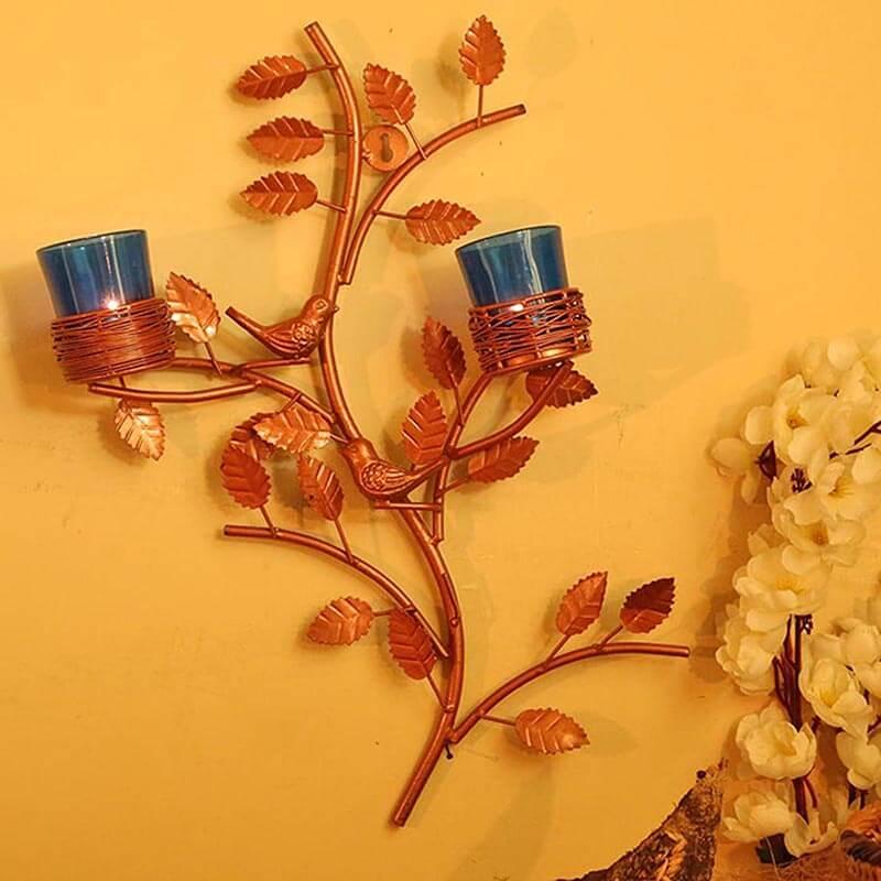 Copper Tree with Bird Nest Blue Votive Stand