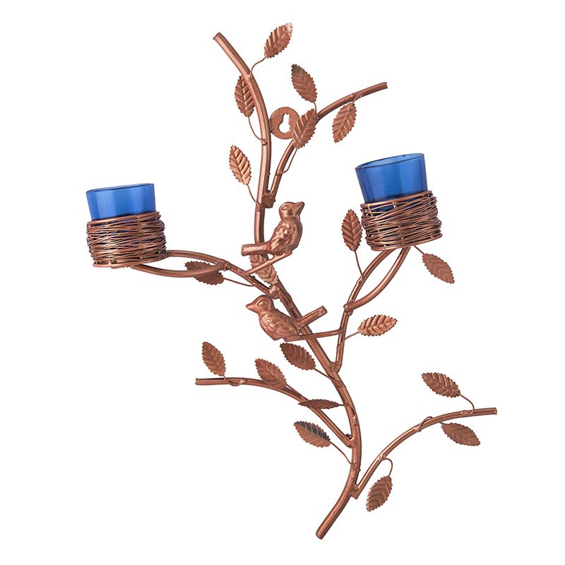 Copper Tree with Bird Nest Blue Votive Stand