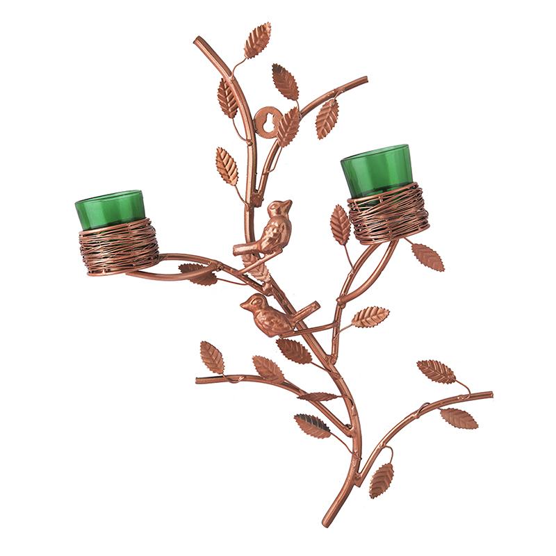 Copper Tree with Bird Nest Green Votive Stand