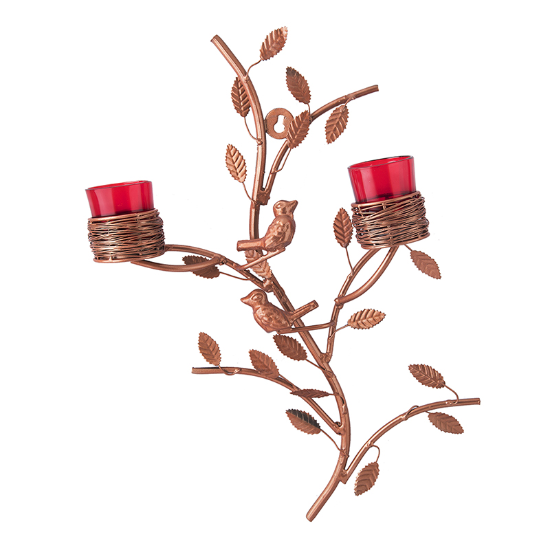 Copper Tree with Bird Nest Red Votive Stand