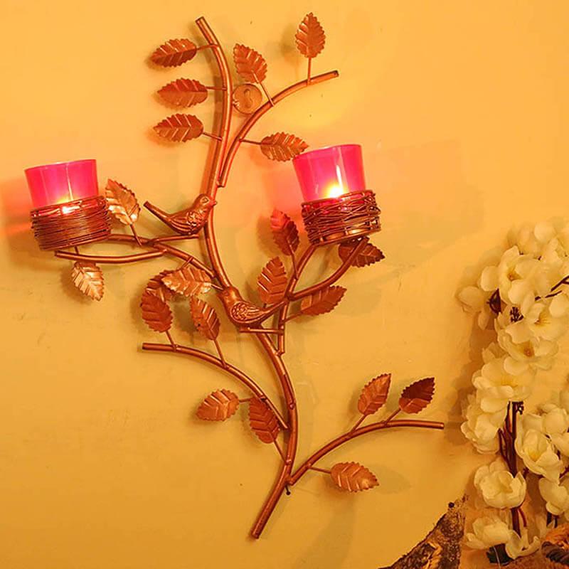 Copper Tree with Bird Nest Rose Votive Stand
