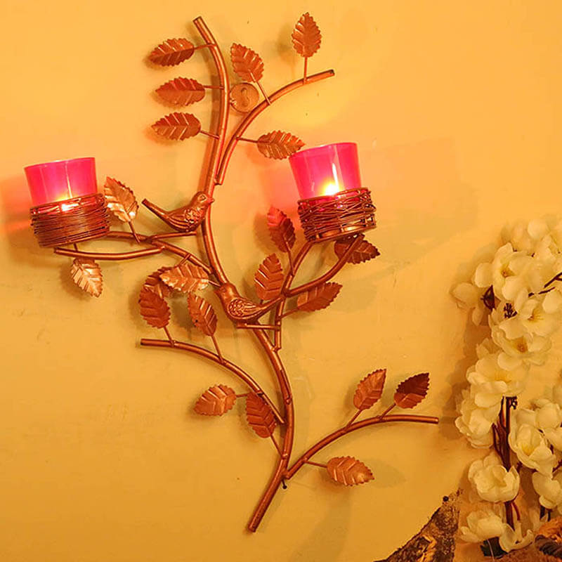 Copper Tree with Bird Nest Red Votive Stand