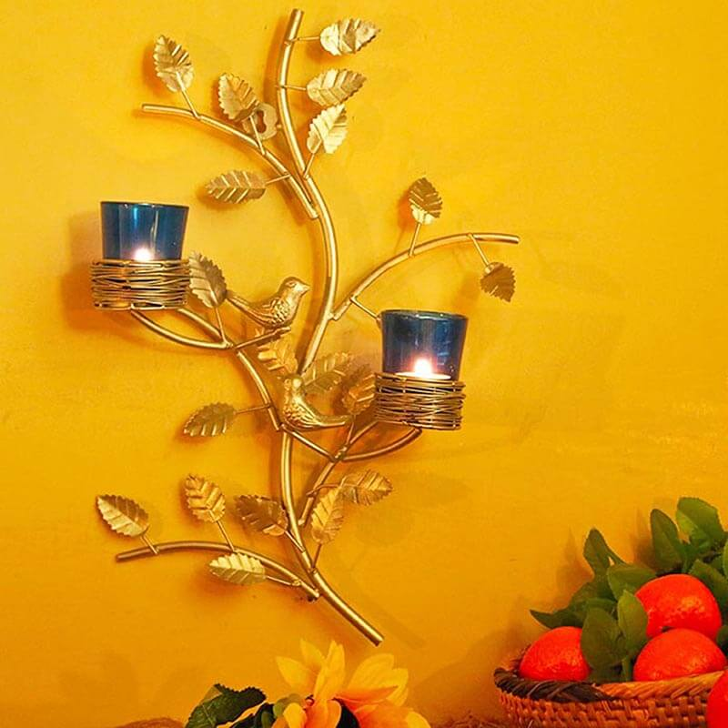 Silver Tree with Bird Nest Blue Votive Stand