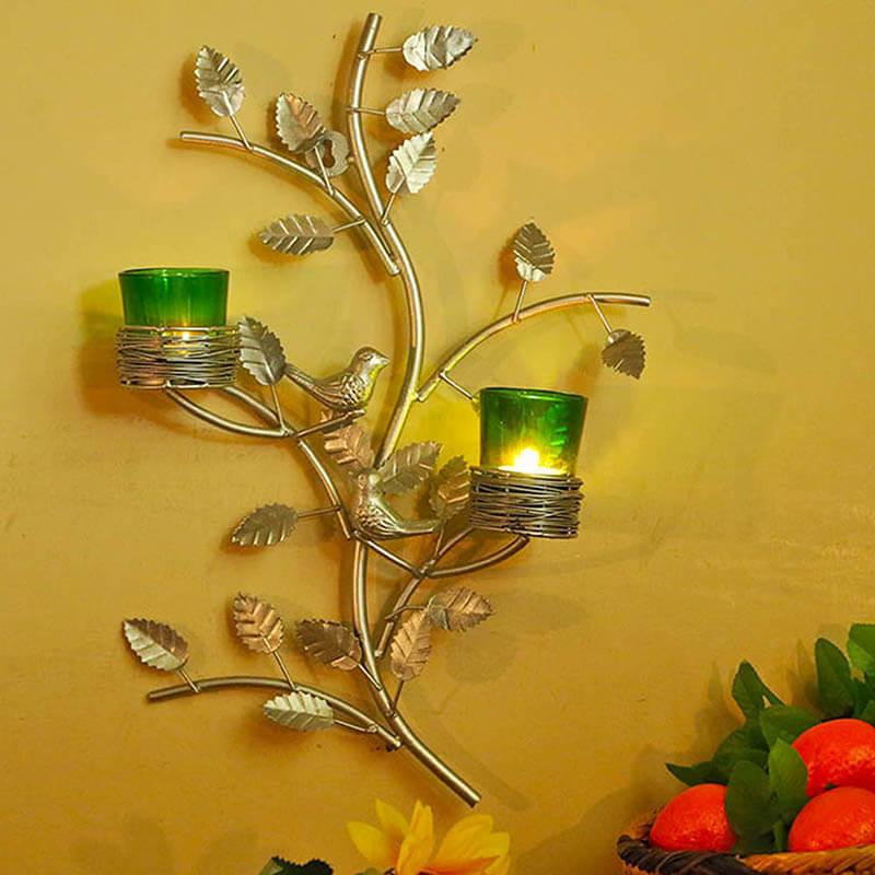 Silver Tree with Bird Nest Green Votive Stand