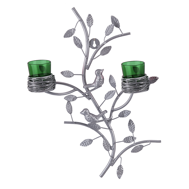 Silver Tree with Bird Nest Green Votive Stand