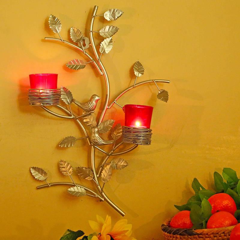 Silver Tree with Bird Nest Red Votive Stand