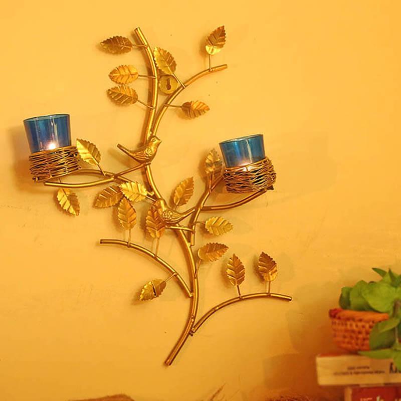 Golden Tree with Bird Nest Blue Votive Stand