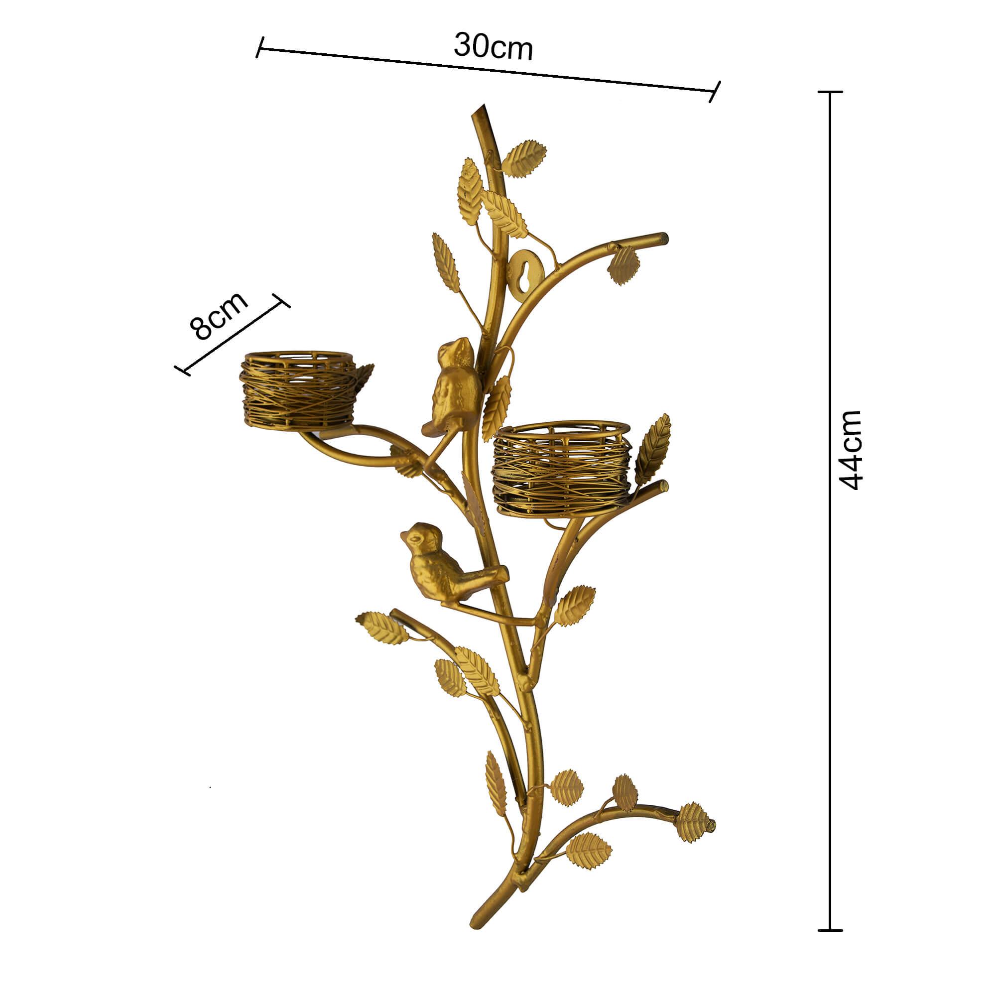 Golden Tree with Bird Nest Rose Votive Stand
