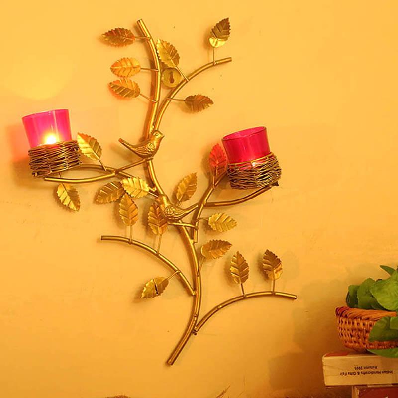 Golden Tree with Bird Nest Red Votive Stand