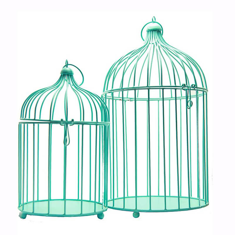 Turquoise Bird Cage (Set of 2), with Hanging Chain