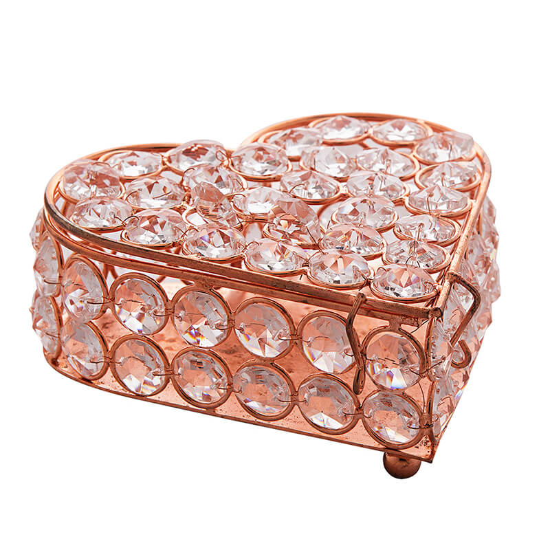 Heart Shaped Crystal Jewellery Box Copper