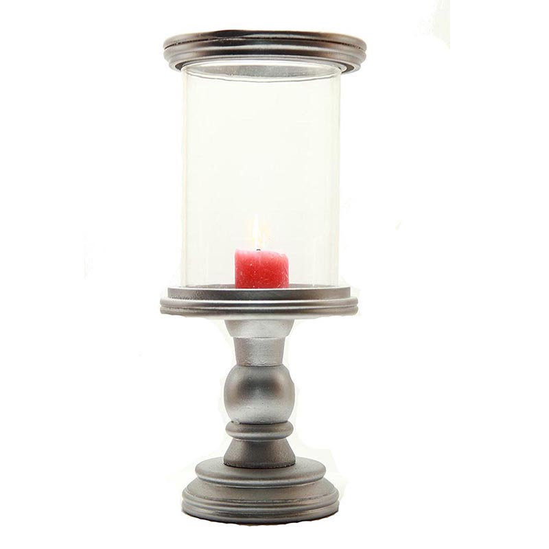 Classic Cubist Hurricane Silver Finish Wooden Candle Holder with Glass Chimney