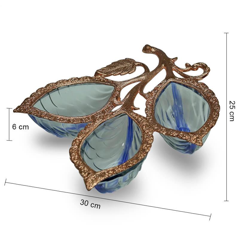 Copper 3 Leaf Glass & Metal Serving Tray