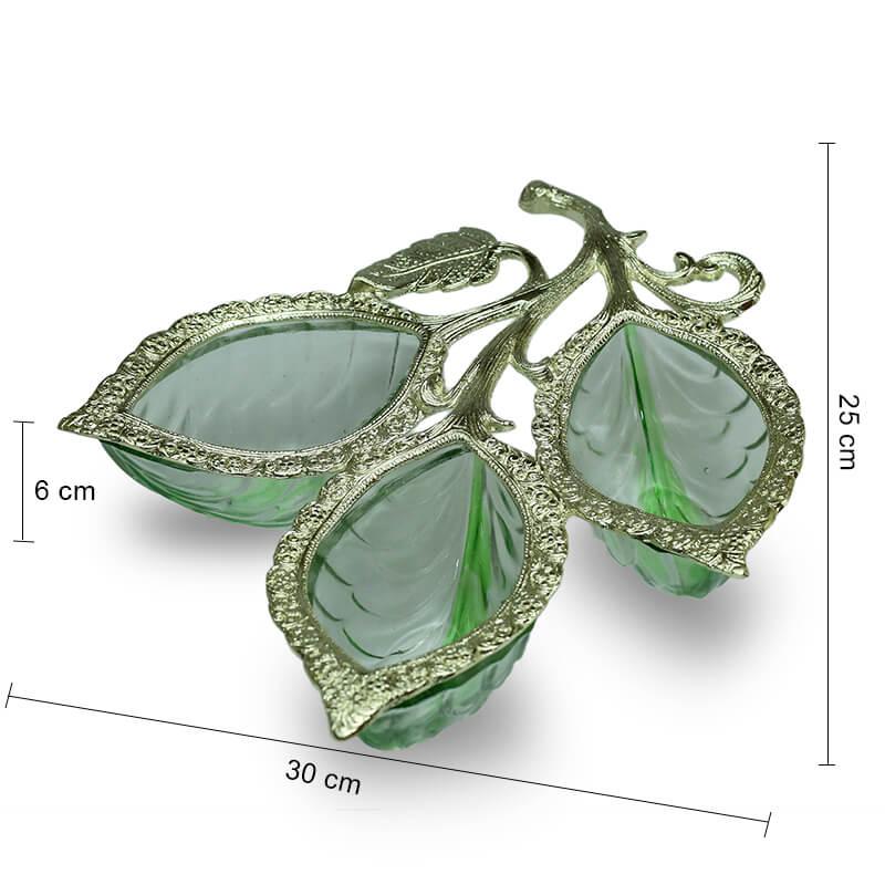 Golden 3 Leaf Glass & Metal Serving Tray
