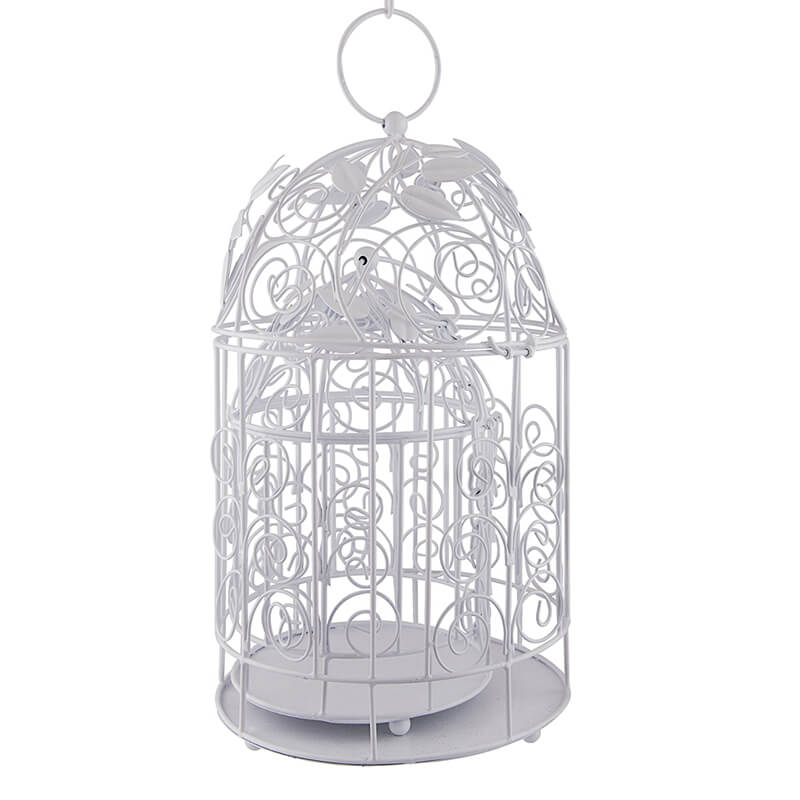 Victorian White Bird Cage with Leafy Climber, with Hanging Chain