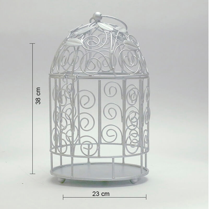 Victorian Silver Bird Cage with Leafy Climber