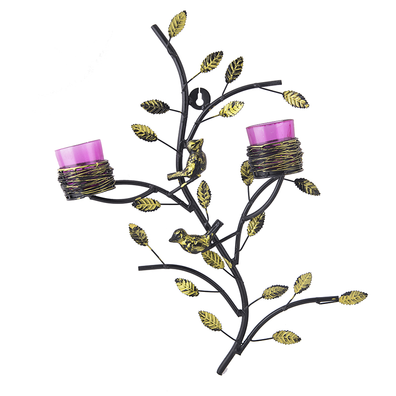 Tree with Bird Nest Votive Stand Rose