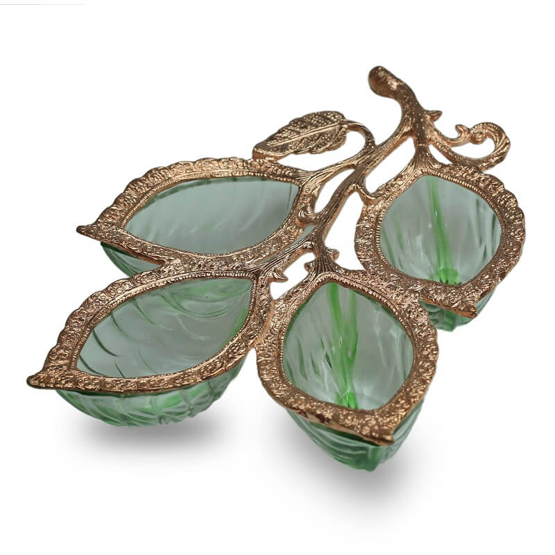 Copper 4 Leaf Glass & Metal Serving Tray