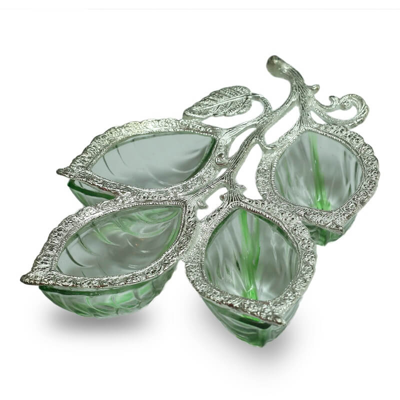 Silver 4 Leaf Glass & Metal Serving Tray