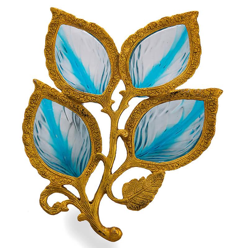 Golden 4 Leaf Glass & Metal Serving Tray