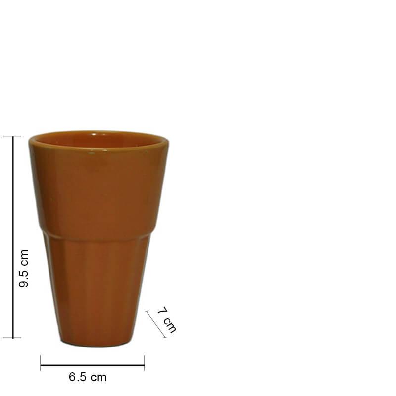 Ceramic Cutting chai Glass, Large (set of 6)