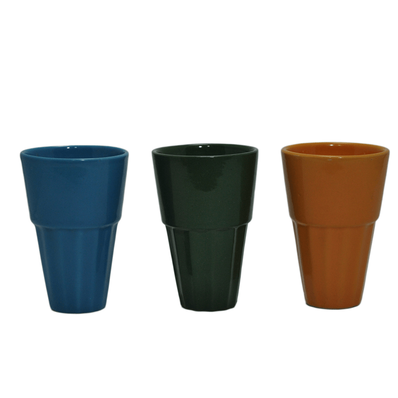 Ceramic Cutting chai Glass, Large (set of 6)