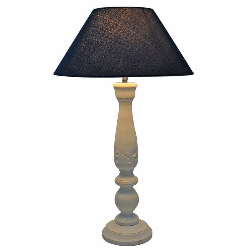 Floral Carved White Wood Table Lamp With Blue Shade
