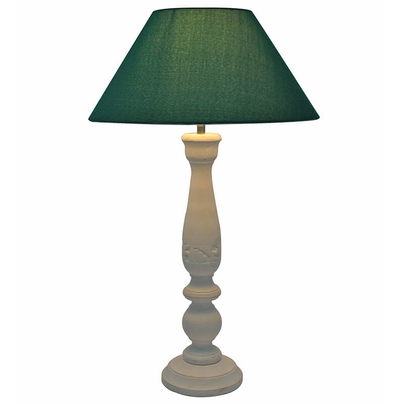 Floral Carved White Wood Table Lamp With Green Shade