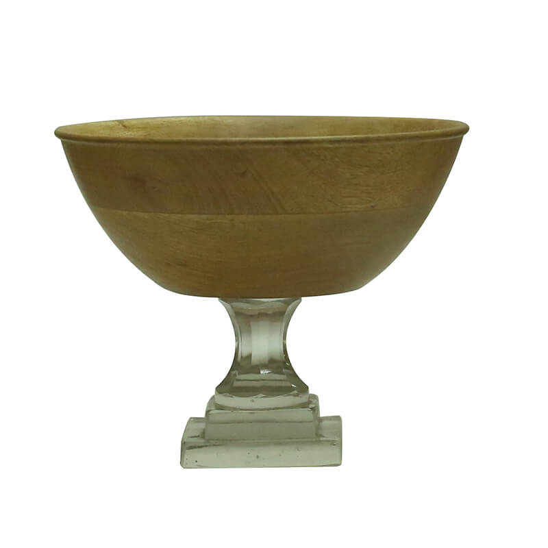 Natural Wood Salad, Fruit Bowl With Glass Stand (8 Inches)