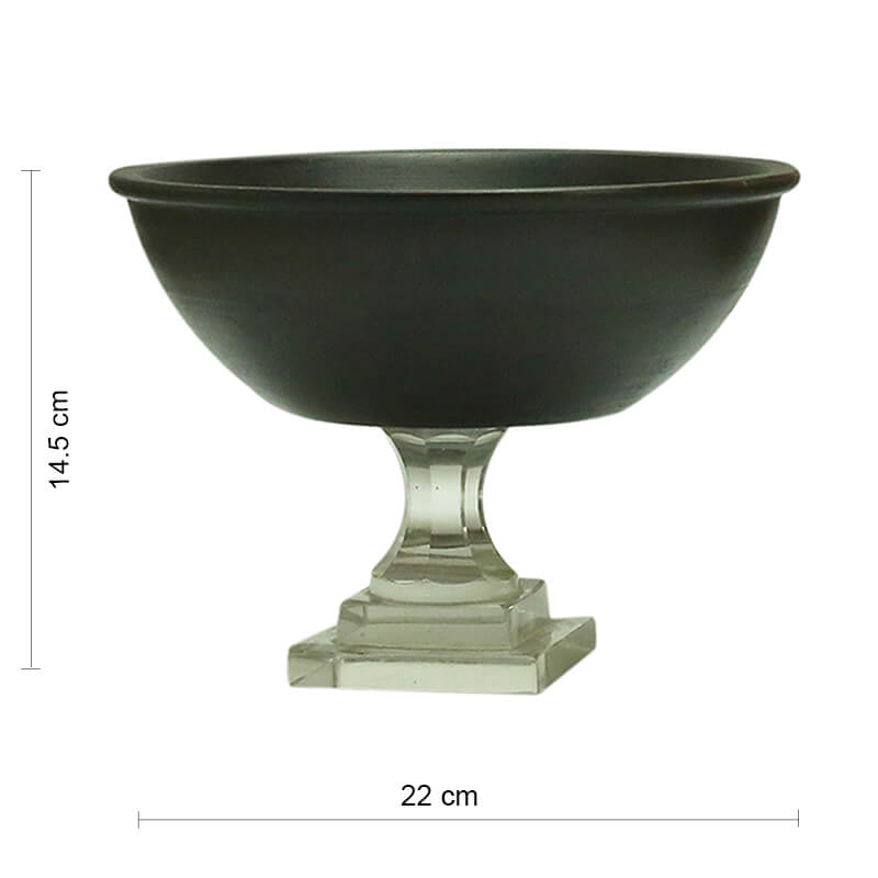Classic Black Wood Salad, Fruit Bowl With Glass Stand (8 Inches)