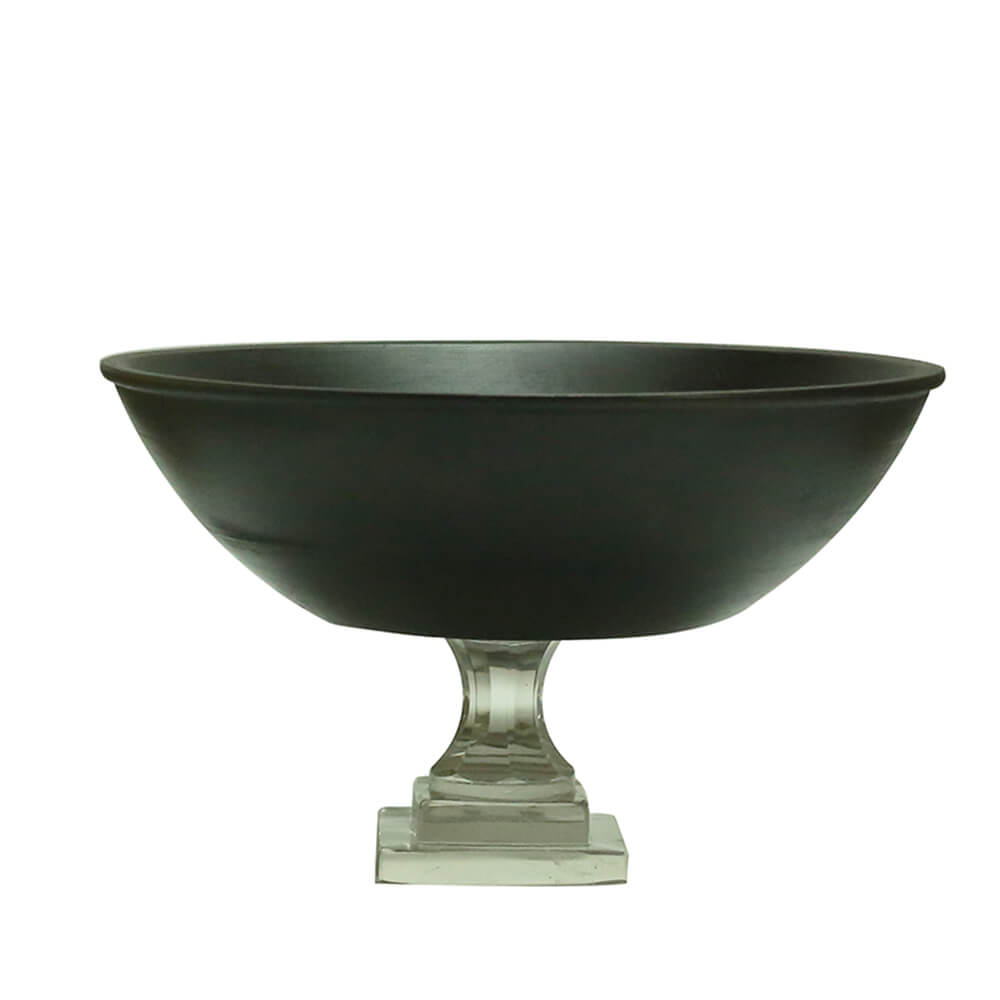 Classic Black Wood Salad, Fruit Bowl With Glass Stand (10 Inches)