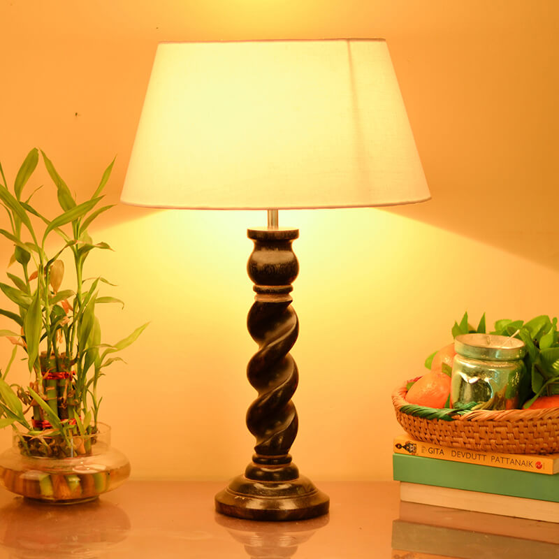 Classic Black Twister Table Lamp With White Drum Shade